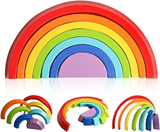 kizh Wooden Rainbow Stacker Nesting Puzzle Blocks Tunnel Stacking Game Building Blocks Color Shape Matching Jigsaw Educational Toys Puzzle for Kids Baby Toddlers Children