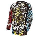 O'Neal | Camisa de Motocross Manga Larga | MX MTB Mountainbike | Materiales Ligeros, Coderas Cosidas, poliéster Transpirable | Element Youth Jersey Wild | Niños | Multi | Talla M