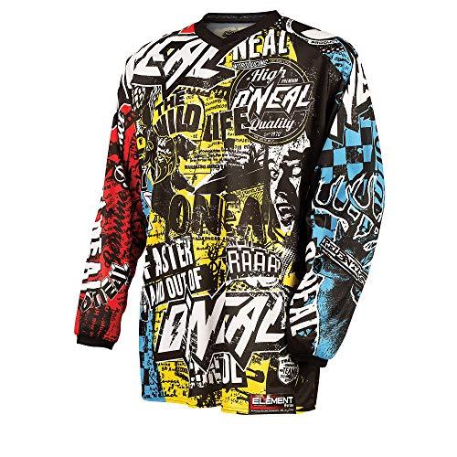 O'NEAL | Motocross-Shirt Langarm | MX MTB Mountainbike | Leichte Materialien, Eingenähte Ellbogenpolster, Atmungsaktives Polyester | Element Youth Jersey Wild | Kinder | Multi | Größe L