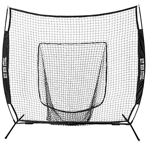 Hit Run Steal Baseball and Softball Mouth Practice Net, Hitting Net & Bag (Red)