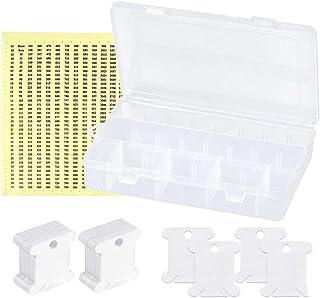 Sokey 100 Stks Witte Plastic Floss Klossen Set Borduurwerk Draad Klossen met Organizer Opbergdoos en 552 Stks Floss Nummer...