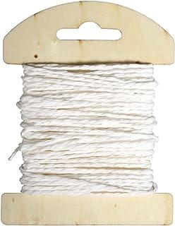 Rayher 55352102 Papier Kordel, 1,2mm ø, auf Holzkarte, 10m, weiß