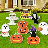 OurWarm Halloween Yard Signs with Stakes, 8 Pieces Pumpkins Ghost Skeleton Boo Mummy and Trick or Treat Yard Sign Stakes for Halloween Decorations Outdoor, Blow Up Yard Lawn Decor, Halloween Props