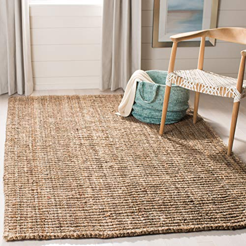 Safavieh Fiber Collection NF447M Hand-woven Chunky Textured Jute Area Rug, 4' x 6', Natural/Grey