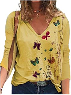HEFASDM Women Floral Spring V Neck Long-Sleeve Casual Leisure Blouse Tees Top