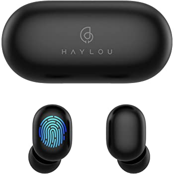 True Wireless Earbuds,Haylou GT1 Bluetooth 5.0 Sports HD Stereo Touch Control Ear Buds with IPX5 Waterproof/Fast Connection/Mini Case(Only 30g)/Total 12H Playtime (Black) (Black)