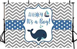 MEHOFOTO Whale Baby Shower Backdrop Props Ahoy Navy Blue and Grey Wave It's A Boy Little Squirt Photography Background Photo Banner 7x5ft