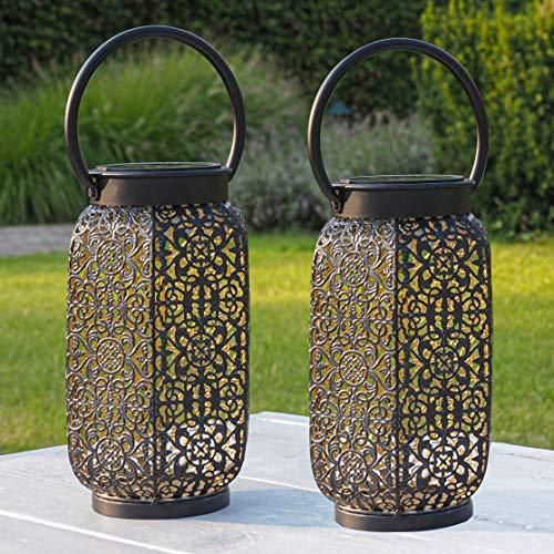 Gadgy Orientalische Laterne | 2 Stück | Solar Gartendeko für Außen | Led Solarlampe | Schwarz & Gold Metall | Marokkanische Dekolampen für Draußen