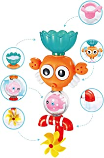 Konig Kids Baby Bath Toy Set with Spinning Gear Fill Spin Flow Crab Penguin Waterfall Bathtub Toy