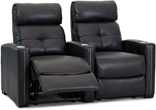 Octane Seating Cloud XS850 Home Theatre Chairs - Black Top Grain Leather - Manual Recline - Straight Row of 2 Seats - Space Saving Design