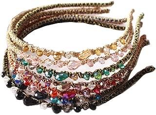 ShungFun Beads Crystal Headbands Hair Loop Clasp Glitter Hairbands Elastics Hair Bands for Women and Girls (7colors(Headbands))