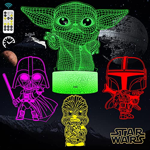 AFSUN Star Wars 3D Illusion Night light,4 Patterns and 7 Color Changing Décor Lamp with Timing Remote,Star Wars Toys Baby Yoda,Christmas and Birthday Gifts for Kids and Star Wars Fans Boys Girls Men