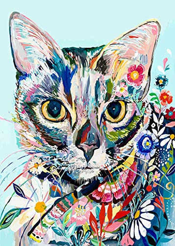 "Diamond Painting Kits for Adults, 5D DIY Full Drill Crystal Embroidery Cross Stitch Arts Craft for Wall Decor, Colorful Cat (11.8""x15.7"")"