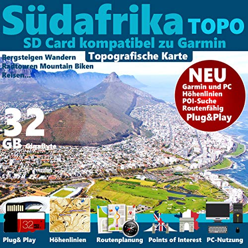 ★ Südafrika Topo Karte Höhenlinien SD Garmin GPSMap 62 64s 64st 78s 78s ★