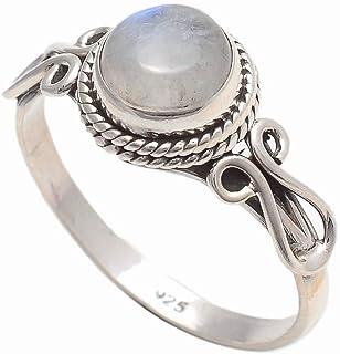 925 Sterling Silver Rainbow Moonstone Ring - Rainbow Moonstone Stone Gemstone Ring For Girl Women Size H I J K L M N O P Q R S T U V W X Y Z