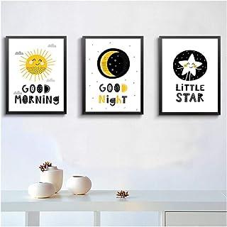 QYH Nordic Cartoon Soleil Lune Étoiles Bonjour Bonjour Bonne Nuit Enfants Chambre Toile..