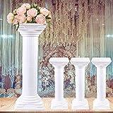 LOYALHEARTDY 4Pcs 31 Inch Elegant Wedding Roman Column Set, Roman Pillars Decoration Party Flower Pot Columns Pedestal Stand Flower Floral Wedding Road Decorative Columns