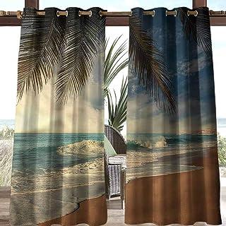 Anmaseven Beach Polyester Outdoor Curtain Panel Terrace Near Bushes and Villa Yard Tropical Seashore Sri Lanka 112