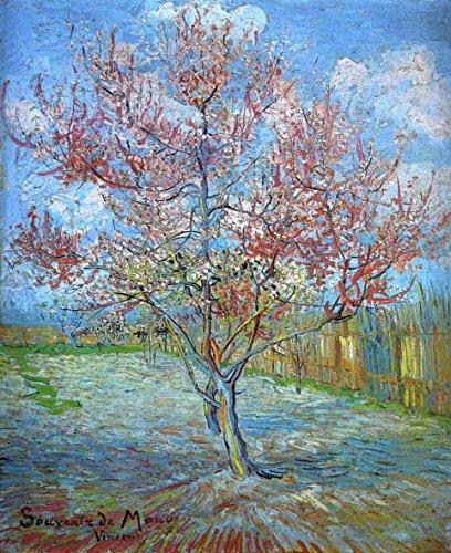 Legendarte Schilderij van Vincent Van Gogh-Pink Peach Tree in Blossom-Digital Print op Canvas-cm. 60x80, Multi kleuren