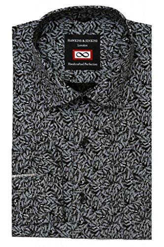 H&J Homme gris & blanc imprimé motif feuilles Floral Design intelligent manches longues Casual rétro Vintage Slim Fit chemise noir S