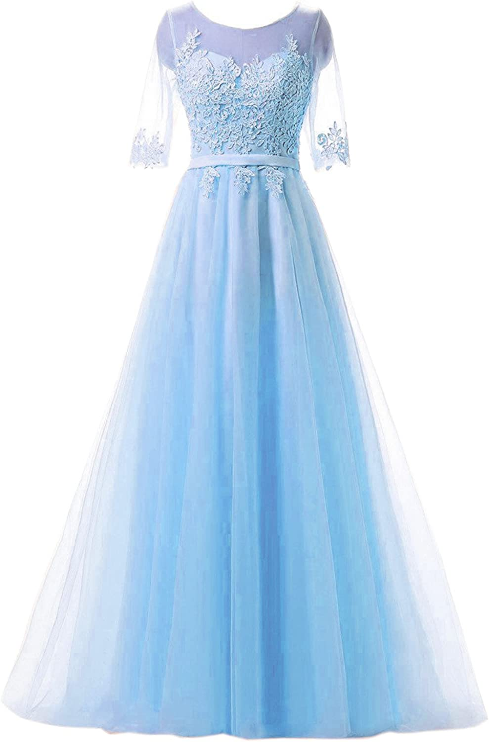 Belle House Long Prom Dresses For Women Sheer Neck Mother Of The Brides Dresses With