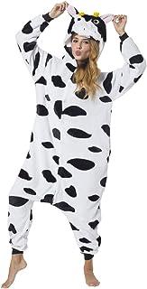 Katara - Disfraz Animal Pijama Una Pieza Adultos, Color Vaca, Talla 145-155cm (S)