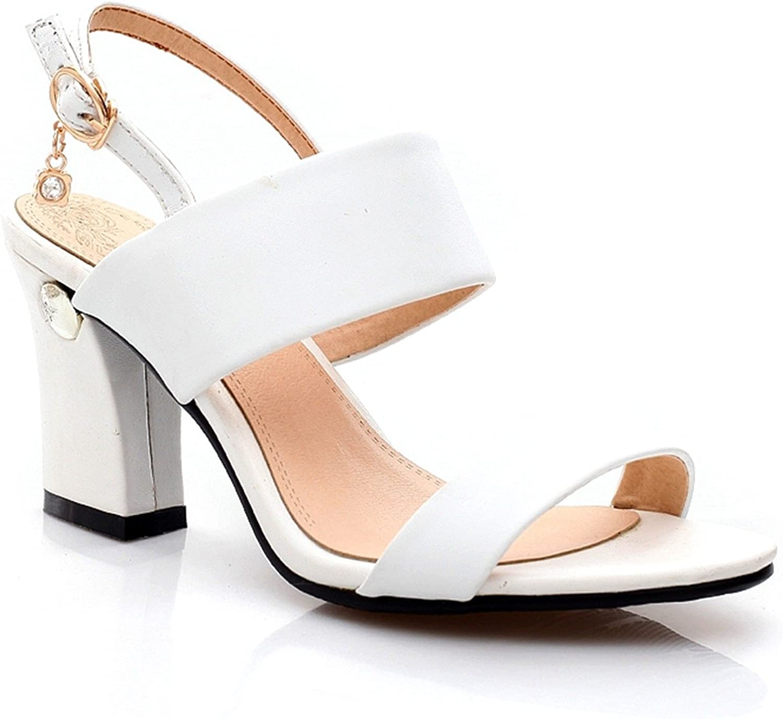 DoraTasia Women's Chunky Heel Ankle Buckle Sandals