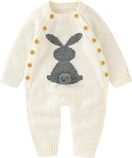 الوليد طفلة بوي القطن حك الأرنب طويل الأكمام سترة رومبير بذلة (Color : White, Size : 6M)