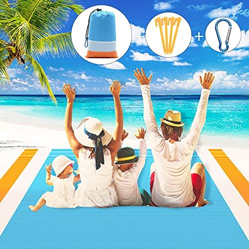 JTOOYS Picknickdecke 200 x 210 cm Stranddecke wasserdichte und Sand Abweisend Campingdecke 4 Befestigung Ecken, Faltbare Tragbare Ultraleicht Stranddecke für Outdoor Garden Park Grass Travel Wandern