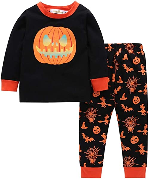 Halloween Children Kids Boys Pumpkin Printed Long Sleeve Tops Pants Pajamas Outfits Set
