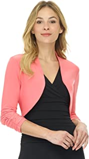 Women's Chic Soft Knit Stretch Bolero Shrug with Ruched Sleeves