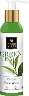 Good Vibes Green Tea Purifying Face Wash, 120 ml Helps Prevent Acne, Dirt Removal Deep Cleansing Natural Antioxidants Form...