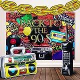 Suministro de Decoración de Fiesta de los Años 80 y 90, Radio de Estéreo Portátil Inflable Telón de Fondo Teléfono Móvil Inflable y Globo de Cadena de Papel Aluminio Dorado de 16 Pulgadas