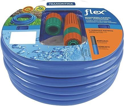 Mangueira flexível para jardim 15 m com engates e esguicho azul - Flex - Tramontina