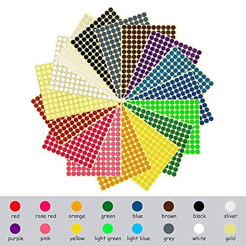 Rmeet Pegatinas Colores,10mm Etiquetas Autoadhesivo 16 Colores/Hoja Redondo Etiquetas de Codificación para Calendarios Manual de Oficina 2640 Piezas