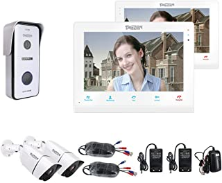 """TMEZON 10"""" IP WIFI Video Door Phone Doorbell Intercom System 2x 960P Security Camera System Montion Detection Entry System..."""