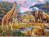 QNJY Puzzle en bois adulte 1000 pièces 3D Animaux de la savane 70x50cm dessin animé pour enfants puzzle jouet éducatif cadeau