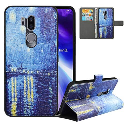 LFDZ Handyhülle für LG G7 ThinQ Hülle,Premium 2 in 1 Abnehmbare PU Ledertasche für G7 ThinQ Hülle,RFID-Blocker Flip Hülle Tasche Etui Schutzhülle für LG G7 Fit/LG G7 ONE/G7+ThinQ Hülle,Starry Night