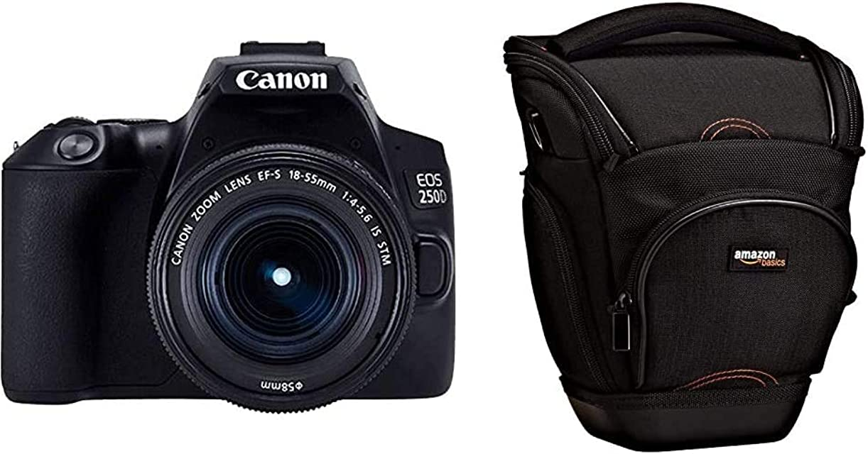 Canon EOS 250D - Cámara Digital (241 MP 6000 x 4000 CMOS 4K Ultra HD Pantalla táctil) Negro Kit con Cuerpo y EF-S 18-55IS STM + AmazonBasics - Funda para cámara de Fotos réflex Color Negro