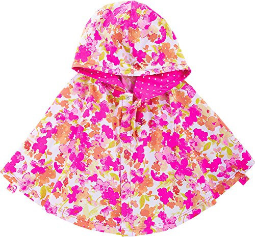 Coolibar UPF 50+ Baby Girls' Hooded Beach Cover-up Poncho - Sun Protective (2T-3T- Pink Blossom)