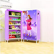 Sutable For Home Office & outside 3D Shoes Floor layer 6 - Size 54x24x17cm 6 Layer Good Looking Shoe Shelf/Shoe Cabinet,Easy Installation Stand(Pink)