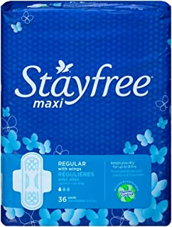 Stayfree Maxi Pads for Women with Wings, Regular - 36 Count