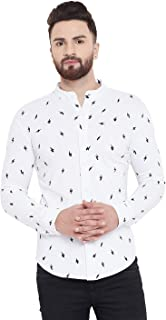 GRITSTONES Men's Printed Chinese Collar Full Sleeves Shirt