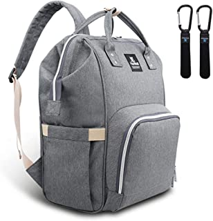Hafmall Nappy Changing Bag, Waterproof Multi-Functional Travel Diaper Bag with Stroller Hook,Stylish and Durable (Grey)
