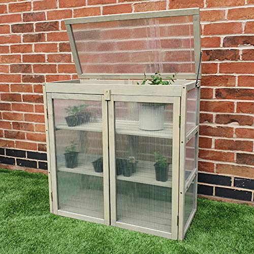 FeelGoodUK Cold Frame Greenhouse Flower Planter Green House Wooden Frame 77 (h) x 36 (d) x 75 (w)
