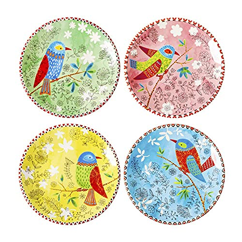 4 Piezas de Platos de 8.5 Pulgadas, Coloridos Platos de CeráMica Redondos con Estampado de PáJaros, ArtesaníAs de Porcelana, Vajilla Pintada a Mano, CombinacióN de Platos de CeráMica Para el Hogar