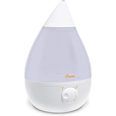 Crane Ultrasonic Cool Mist Humidifier, Filter-Free, 1 Gallon, for Home Bedroom Baby Nursery and Office, White