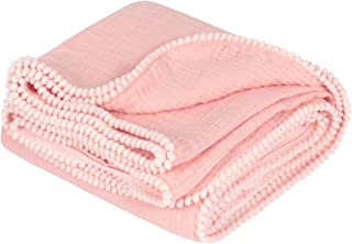 """TILLYOU 100% Soft Cotton Muslin Swaddle Blanket with Pom Pom, 44""""x44"""" Large - Fits Toddler Bed/Baby Crib/Newborn Stroller, Breathable Thermal Security Blanket for Receiving, Swaddling, Sleeping, Pink"""