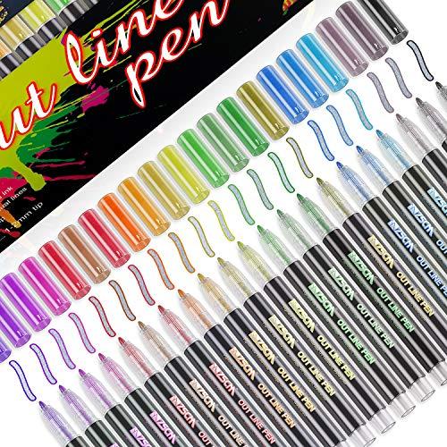 Baozun Outline Stifte 21 Farben Wasserfester Stifte Geschenkkarte Schreiben von Zeichenstiften zum Geburtstagsgruß, Schrottbuchung, Malen, Basteln