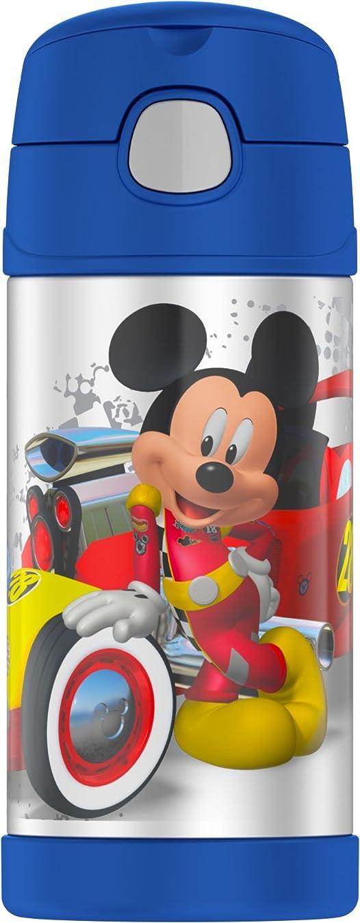 THERMOS ステンレス ストロー 水筒 350ml ディズニー ミッキー レース ブルー f4018mc6▼